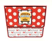 School Gift Card Holder, Gift Card Envelope, Gift Card Box, Money Holder- Polka Dots