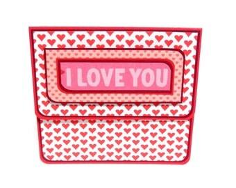 Valentine's Day Gift Card Holder, Gift Card Envelope, Gift Card Box, Money Holder- I Love You