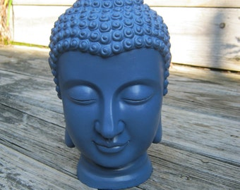 Buddha Head Statue, 10 Inches Tall Concrete Buddhism Figure, Cement Garden Decor, Blue Buddhas, Black Buddhas
