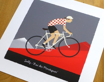 WOMENS PERSONALISED Cycling Art Print, Queen of the Mountains