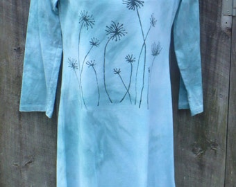 Cotton Dress, Hand Dyed, Hand Printed Dandelion, with Uneven Hem.