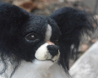 Needle Felted Papillon - life size sculpture