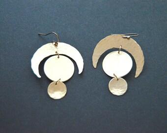 Crescent earrings, moon earrings, eclipse, brass earrings, crescent jewelry