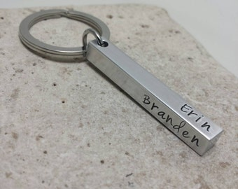 Personalized Keychain - Bar Keychain - Stamped Aluminum Keychain - Custom Keychain - Name Keychain - Stainless Steel Keyring