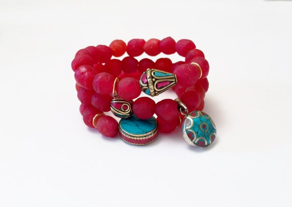Red Sea Glass Bracelets with Nepal Turquoise/Coral Inlay Beads