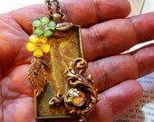 SALE-Captured Woodland Fairy Pendant (N431) - Artwork under resin - Brass framework - Swarovski Crystals - Brass chain