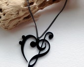 Musical Heart Laser Cut Acrylic Necklace in Black