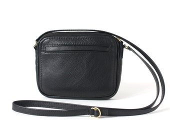 Crossbody Zip Bag Black Leather, Small Leather Purse, Shoulder Bag, Small Cross Body Bag, Crossbody Purse