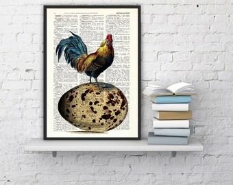 Summer Sale Vintage book print Egg Chicken collage Print on Vintage Book The chicken or the egg art dictionary illustration ANI059