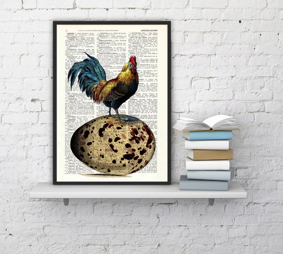 Vintage book print Egg Chicken collage Print on Vintage Book. The chicken or the egg art dictionary page illustration book print BPAN059