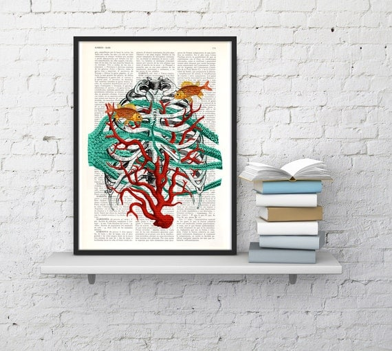 Christmas Sale Human Sternon at the seabed, artistic human anatomy Art Print -Human anatomy print science and geek gift, art SKA091