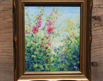 Original Oil Painting, Hibiscus at Morning, Painting on Wood, Framed Wall Art