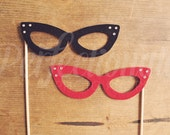 2 Felt Cat-Eye Glasses Props | Cat Eye Photo Props | Photo Booth Prop Glasses