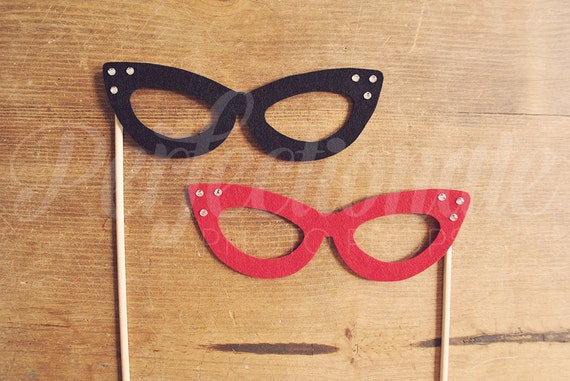 2 Felt Cat-Eye Glasses Props | Cat Eye Photo Props | Photo Booth Prop Glasses