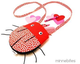 Love Bug Purse by MinneBites / Handmade Valentine Girls Gift - Red Hearts Cute Ladybug - Toddler Cross Body - Ready to Ship