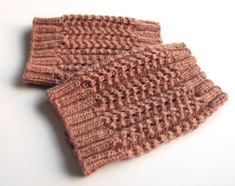 Hand Knitted Openwork Boot Cuffs - Boot Toppers, Leg Warmers - 100% Natural Wool - Winter Cozy Gift - Brownish Pink