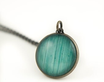 Turquoise Photo Jewelry, Antiqued Silver Pendant on Oxidized 925 Sterling Silver Chain, Gift for Her