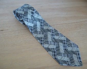 Vintage 1940s Pure Silk Necktie Hand Made Damask  / 50s Abstract Check, Zig Zag and Stipped  in Gray, White and Black, Soft and Shiny