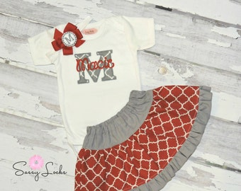Monogram Baby Girl Clothes Personalized Baby Skirt Monogram Bodysuit or Blouse and Headband  Big Sister Little Sister Outfit  0-3 mo to 5T