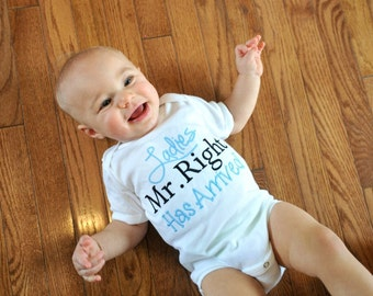Ladies Mr. Right Has Arrived Baby Boy Clothes Take Home Outfit  Bodysuit  Embroidered Newborn Boy Coming Home Outfit New Baby Gift