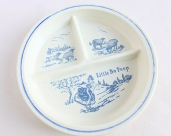 Little Bo Peep Fire King Vitrock Milk Glass Divided Baby Child Dish White with Blue