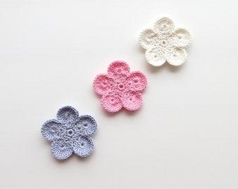 Crochet Flower Appliques, GIANT Flower, Dreamy Purple, Soft Light Pink, Ivory White, Large Crochet Flower Motif, PALM SIZED Bloom, Set of 3