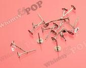 Gunmetal Black - Brass and Stainless Steel Earring Post Blanks (25 to 100 pairs), Earring Blanks, 4mm Glue Pad (R4-131,C1-02)