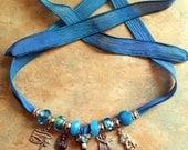 Beautiful Silk Ribbon Egyptian Necklace/Isis/Anubis/Eye of Horus