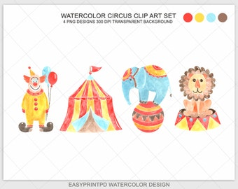 Watercolor Circus Clipart Set, Circus Clip Art, Circus Watercolor, Digital Watercolor Hand Painted Circus Art, Lion ClipArt Circus Scrapbook
