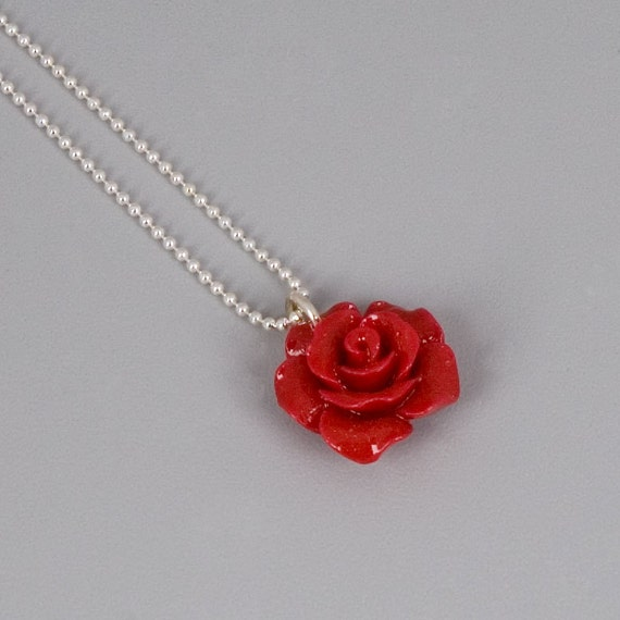 Flower Resin Necklace With Sterling Silver Chain, Red Flower, Rose Cahrm, Dainty Jewelry, Gift For Women, Bridesmaid Set, Bridal Jewelry