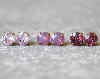 Lavender Amethyst Bridesmaid Earrings Gift Set of Three Swarovski Crystal 8mm Stud Earrings Violet Raspberry Lavender Opal Wedding Jewelry