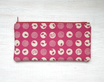 Japanese cotton Pencil case, zipper Cosmetic pouch, pencil pouch, Dots, Back to school, pink, magenta