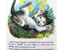 Tales of Tinker Vintage Children's Book Mid Century Illustration by Marcel Marlier 1960s Kitten Book 1974 Printing