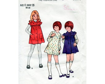 1970s Girl's Dress and Smock Pattern Butterick 6824 Child's Vintage Sewing Pattern Size 6 Front Buttoned Casual Dress