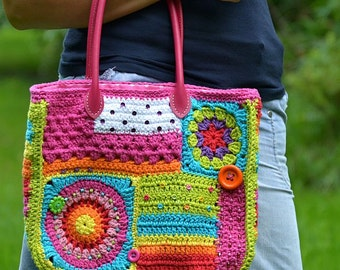 Crochet pattern - Crazy rainbow bag - by VendulkaM - crochet bag pattern, digital, DIY, pdf