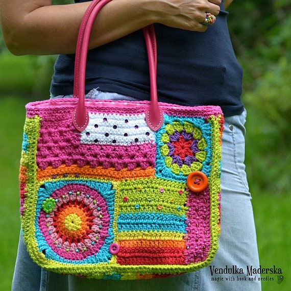 Crochet Backpack Bag Pattern : Crochet pattern - Crazy rainbow bag - by VendulkaM - crochet bag ...
