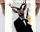 James Bond Deer Animal painting drawing illustration portrait painting mixed media digital print POSTER 11x16:  Mr Deer in red shirt