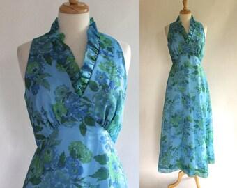 70s Dress / 70s Maxi Dress / Chiffon Dress / 70s Halter Dress / 70s Boho Dress / 70s Chiffon Dress / 70s Floral Dress