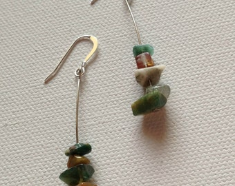 Beaded Earrings -  Blue, Green, and Brown Beads on Silver Wire