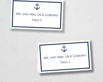 Printable Place Card Template - INSTANT DOWNLOAD - Escort Card - For Word and Pages - Mac and PC - Flat or Folded - Anchor