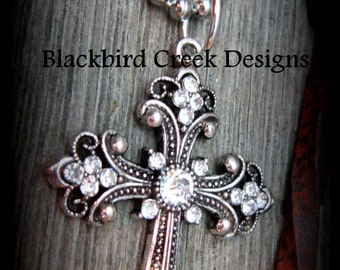 Cross Necklace with Rhinestones, large, rustic, ornate