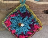 Crochet Lavender Sachets Batik Fabric Square/Small Dove Rugged Cross ring pillow (choose 1)