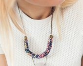 """Knitted Fabric Stone Bead Pendant Necklace, Raw Amethyst - """"Jonathan"""""""