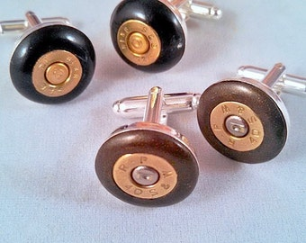 Bullet Head Cuff Links - Brown or Black Clay & Silver Plated Links - Handmade Polymer - BCL-9236-7