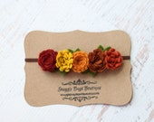 "Wildflower Garland Headband in ""Fall Foliage"" - Newborn Baby to Adult - Wool Felt Flower Headband"