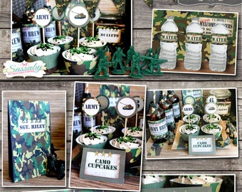 Army Men Party Collection - INSTANT DOWNLOAD - Editable & Printable Birthday Party Decorations by Sassaby Parties