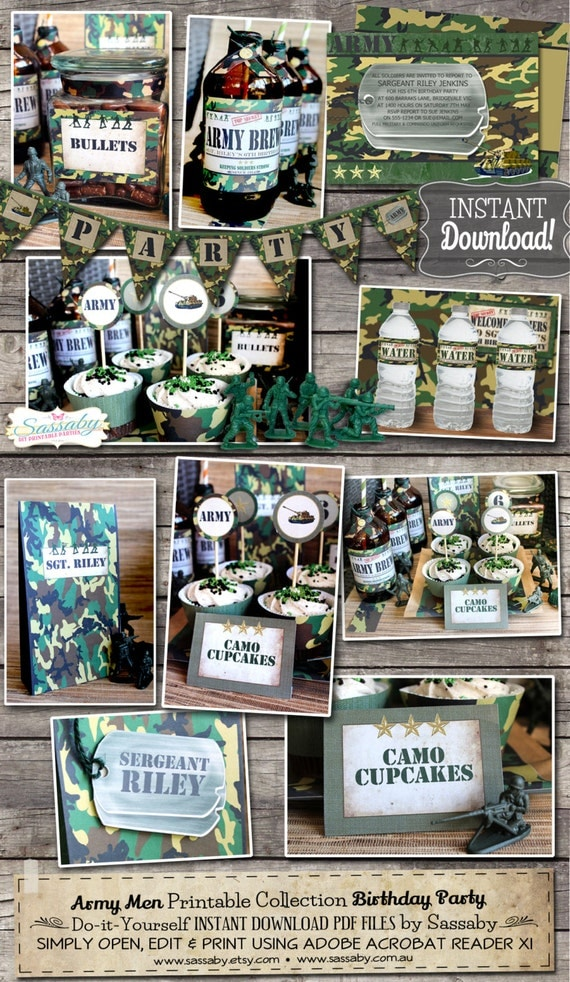 Army men party collection instant download editable for Army party decoration ideas