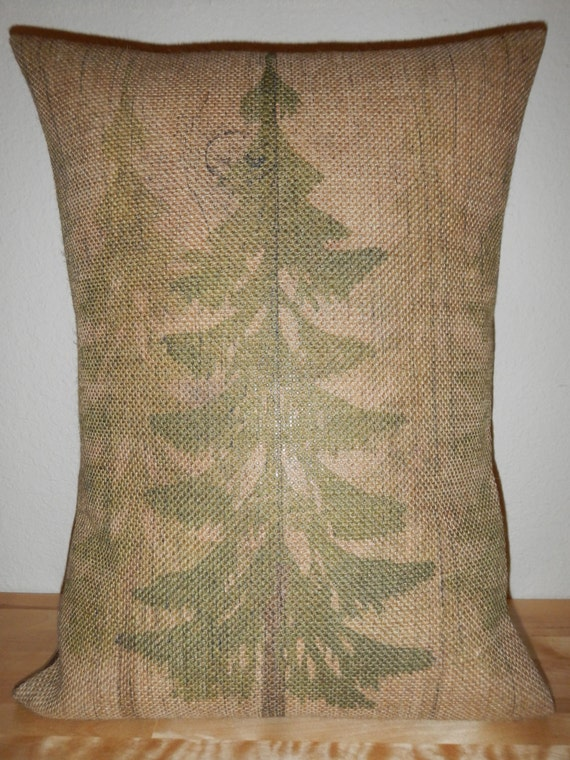 Shabby Chic Burlap Pillows : Forest Burlap pillow Shabby Chic Lodge by PolkadotApplePillows