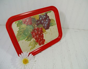 Vintage Red Enamel with Grape Litho Rectangular Metal Tray - Retro Vintner Bouquet Decorative Tin Large Platter - Shabby BoHo Bistro Display