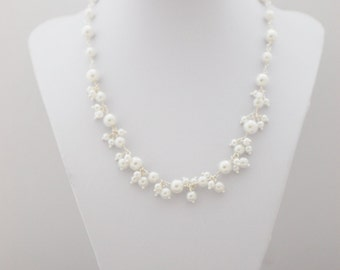 White Pearl Cluster Necklace, Bridal Jewellery